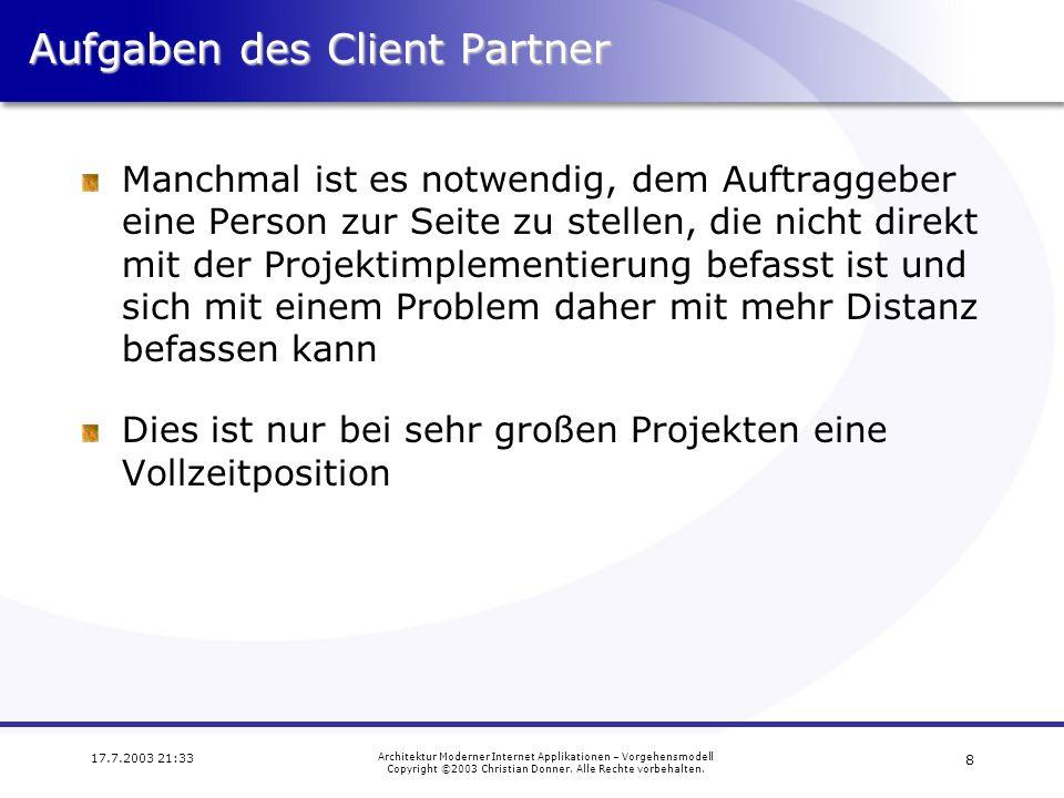 Aufgaben des Client Partner