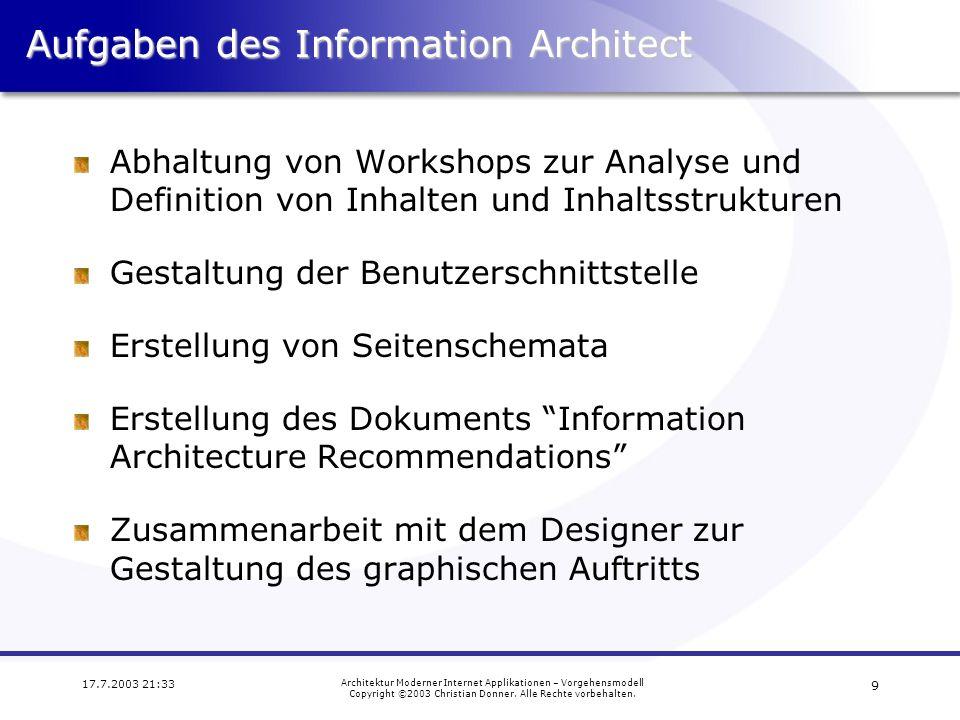 Aufgaben des Information Architect