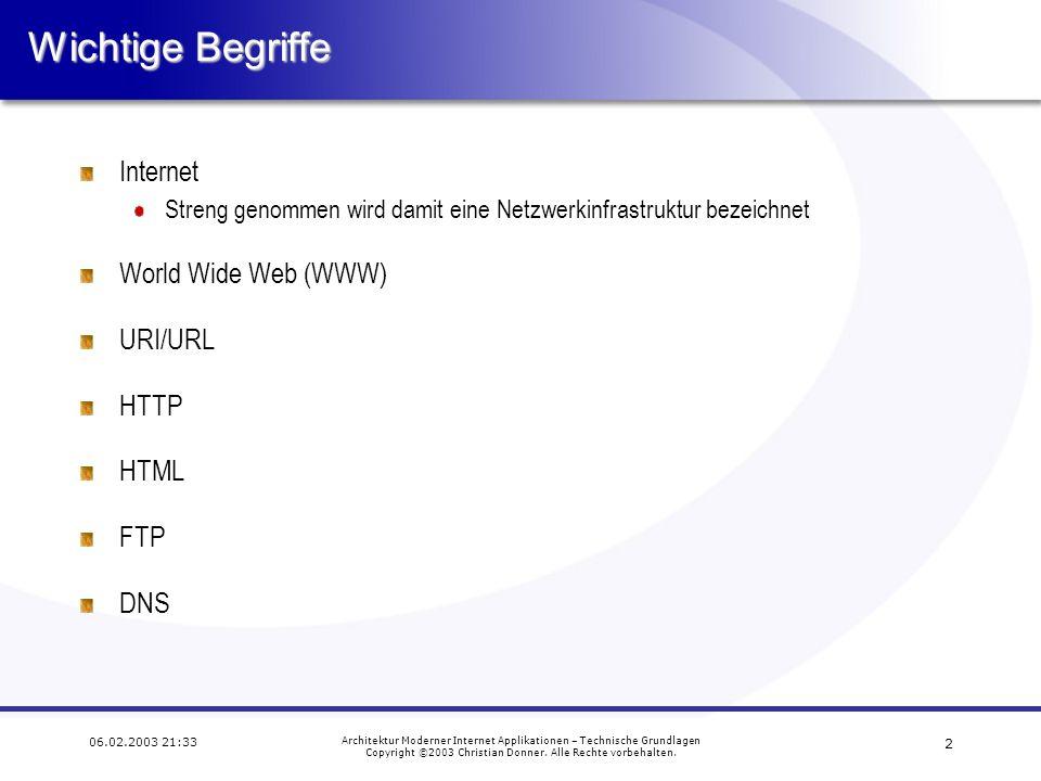 Wichtige Begriffe Internet World Wide Web (WWW) URI/URL HTTP HTML FTP