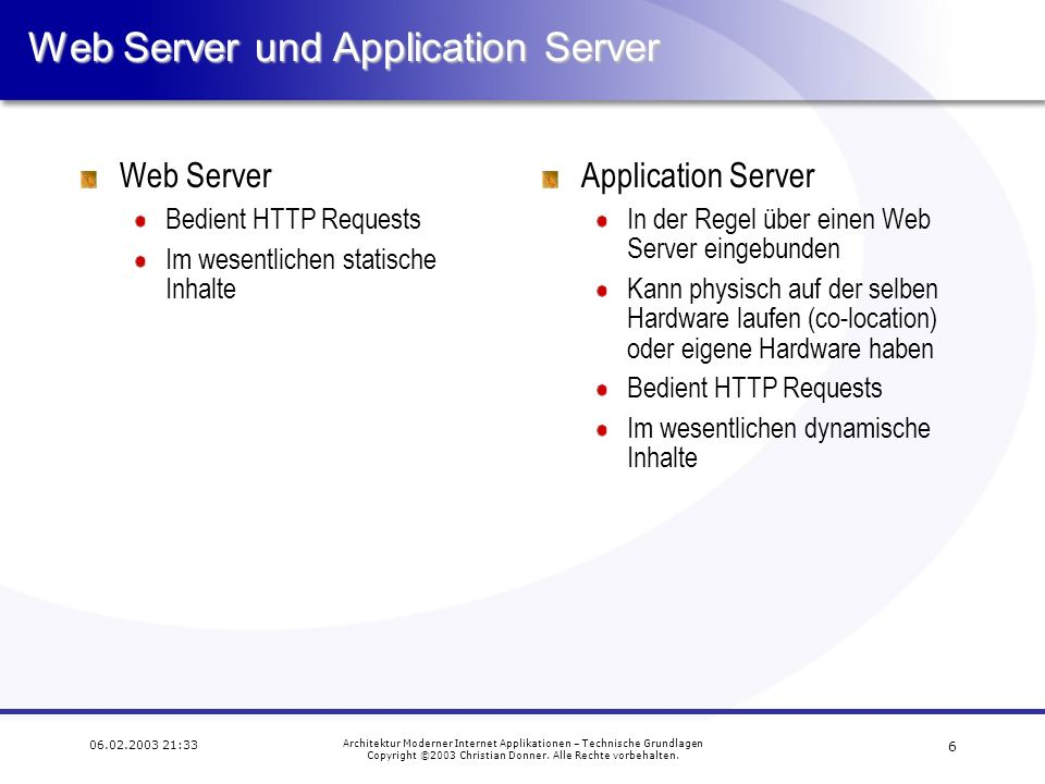 Web Server und Application Server