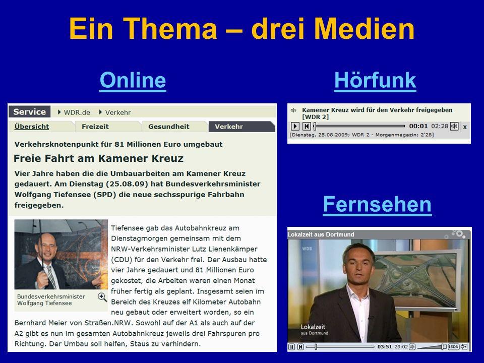 Ein Thema – drei Medien Online Hörfunk Fernsehen