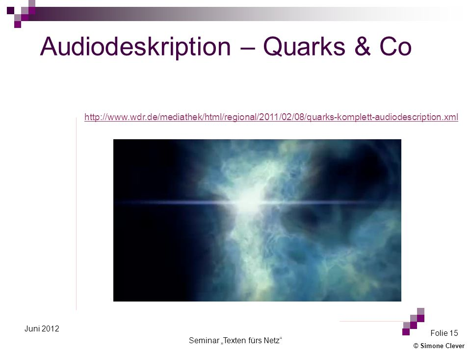 Audiodeskription – Quarks & Co