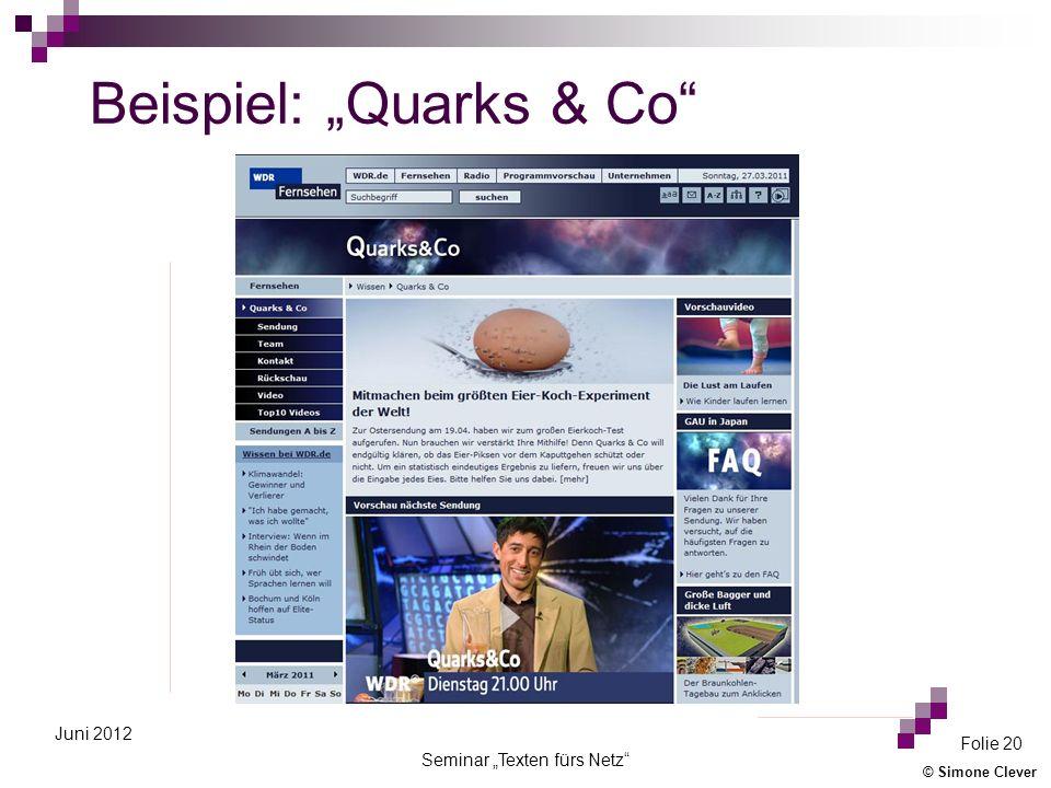 """Beispiel: """"Quarks & Co"""