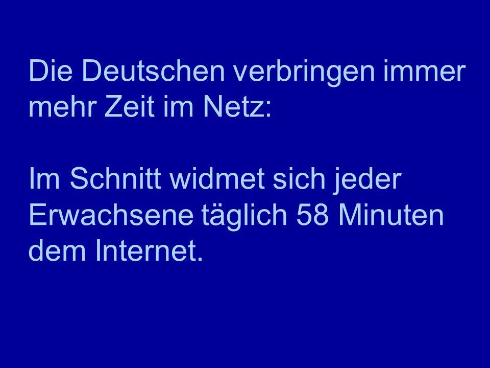 Die Deutschen verbringen immer mehr Zeit im Netz: