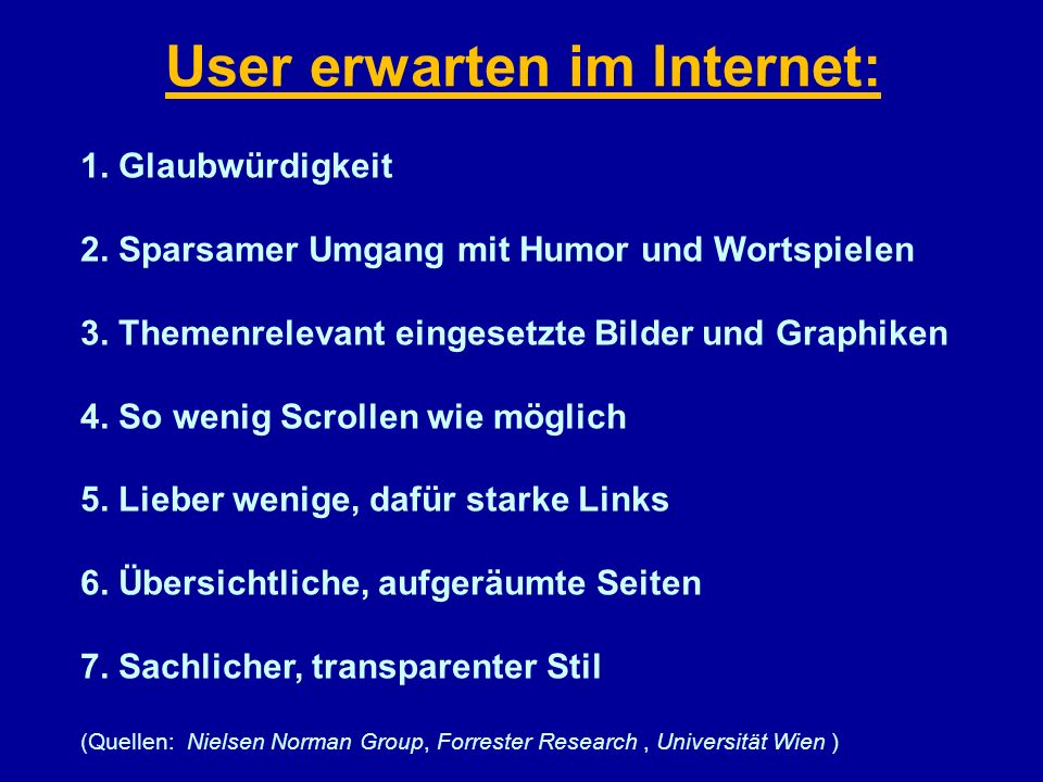 User erwarten im Internet: