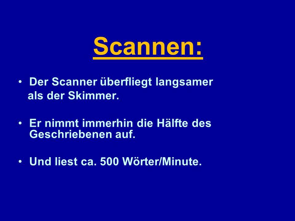 Scannen: Der Scanner überfliegt langsamer als der Skimmer.