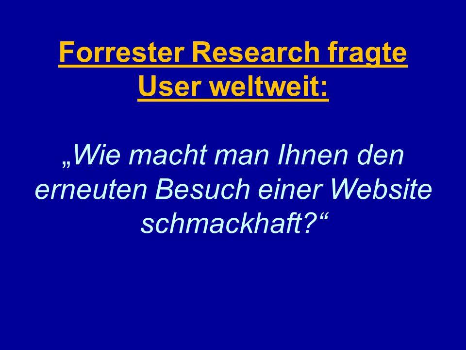 """Forrester Research fragte User weltweit: """"Wie macht man Ihnen den erneuten Besuch einer Website schmackhaft"""