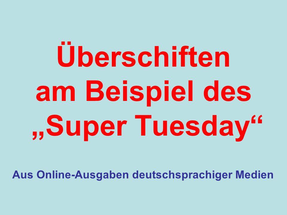 """Überschiften am Beispiel des """"Super Tuesday"""
