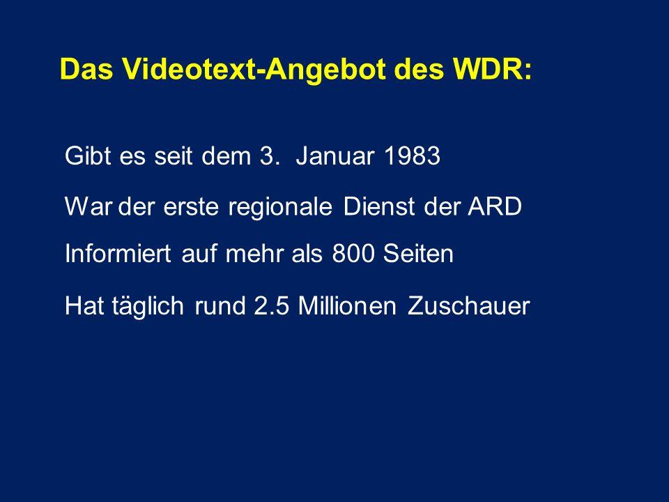 Das Videotext-Angebot des WDR: