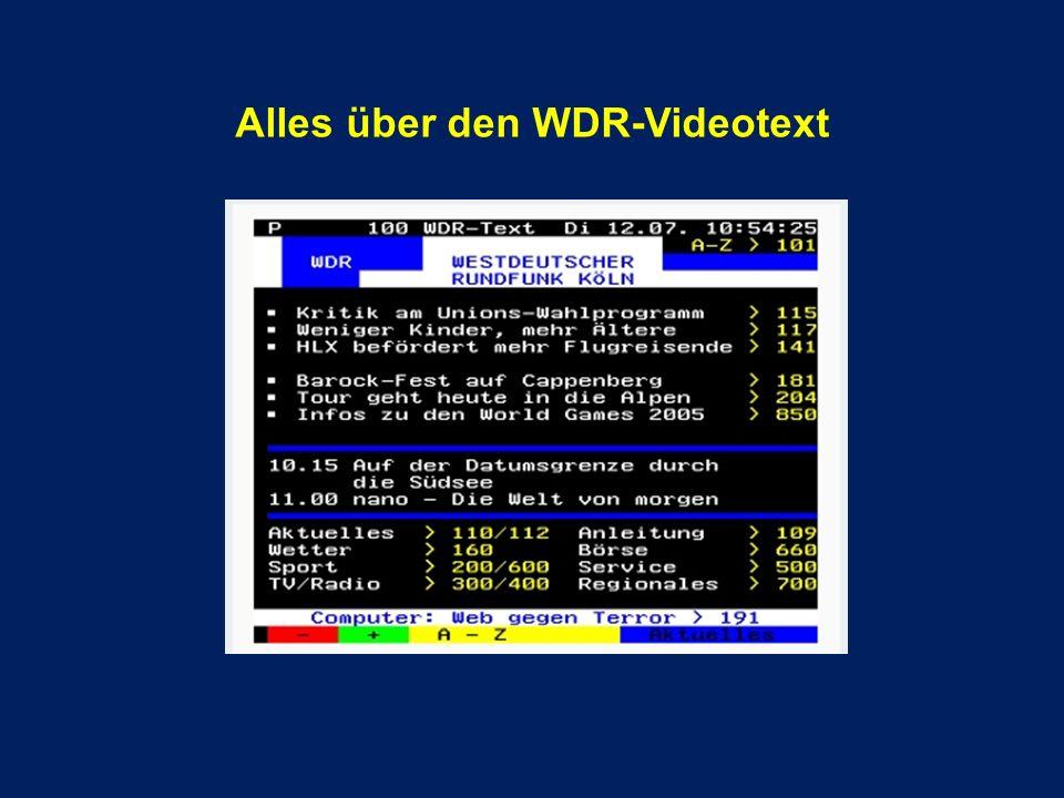 Alles über den WDR-Videotext