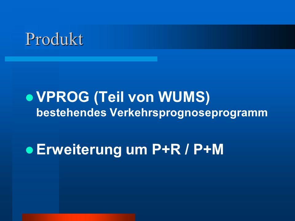 Produkt VPROG (Teil von WUMS) bestehendes Verkehrsprognoseprogramm