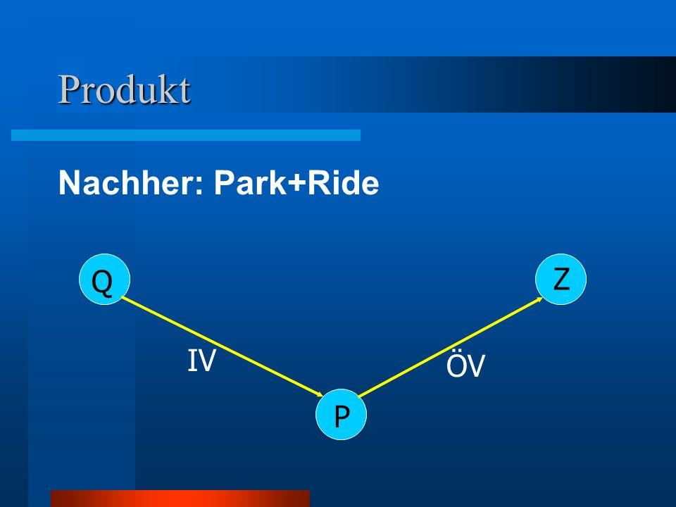 Produkt Nachher: Park+Ride Z Q IV ÖV P P = P+R Parkplatz