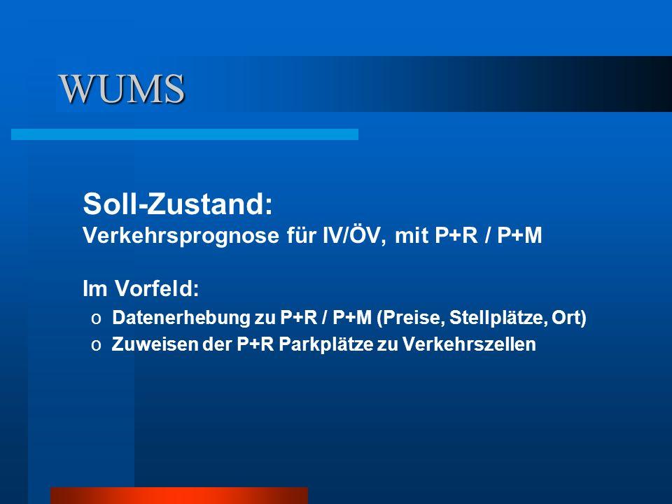 WUMS Soll-Zustand: Verkehrsprognose für IV/ÖV, mit P+R / P+M Im Vorfeld: Datenerhebung zu P+R / P+M (Preise, Stellplätze, Ort)