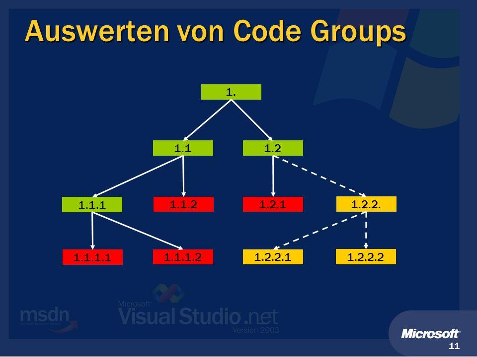 Auswerten von Code Groups
