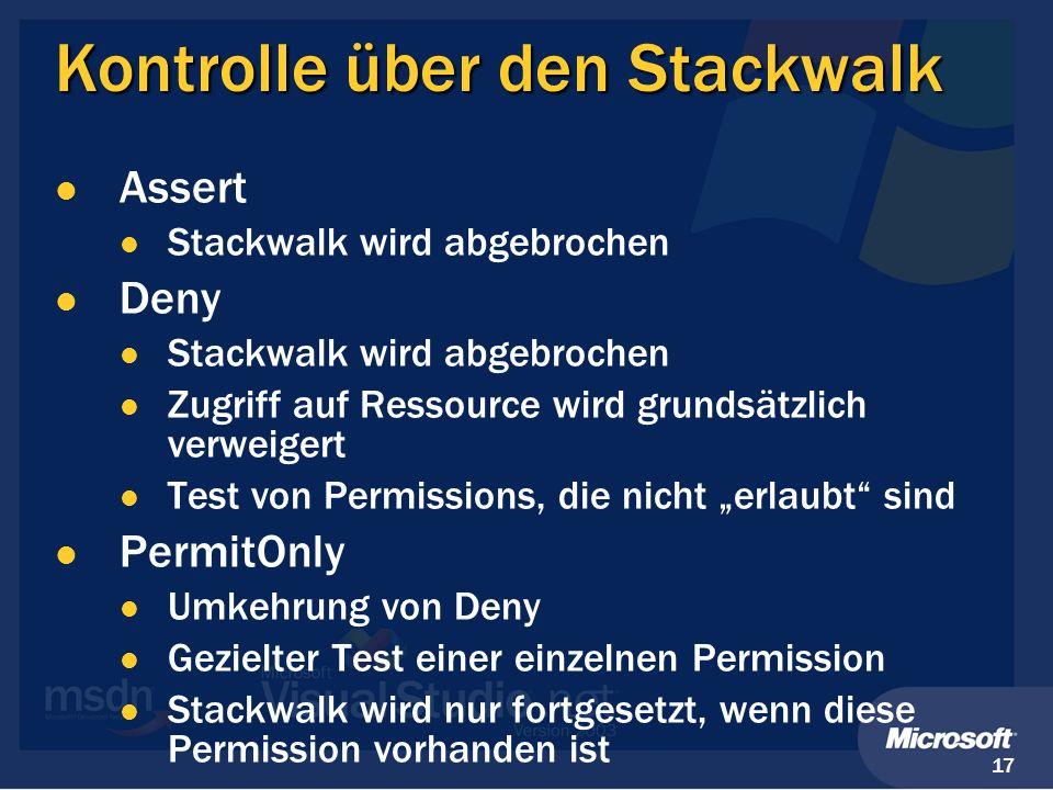 Kontrolle über den Stackwalk