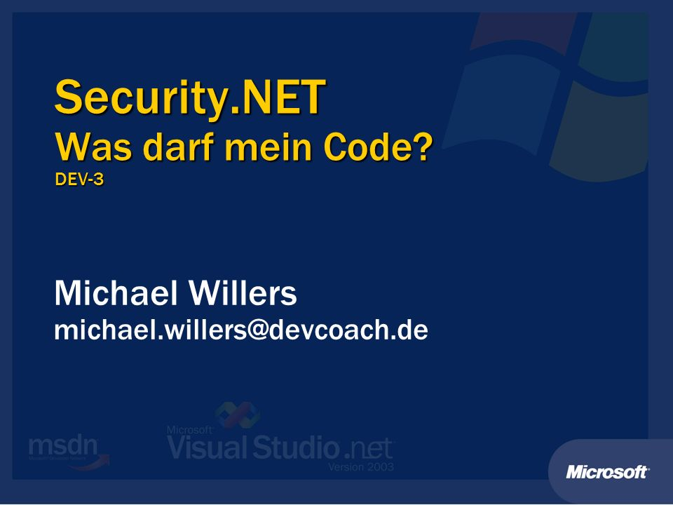 Security.NET Was darf mein Code DEV-3