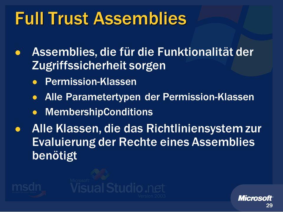 Full Trust Assemblies Assemblies, die für die Funktionalität der Zugriffssicherheit sorgen. Permission-Klassen.