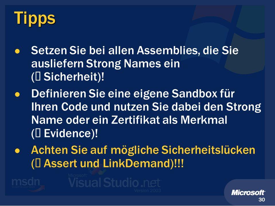 Tipps Setzen Sie bei allen Assemblies, die Sie ausliefern Strong Names ein (à Sicherheit)!