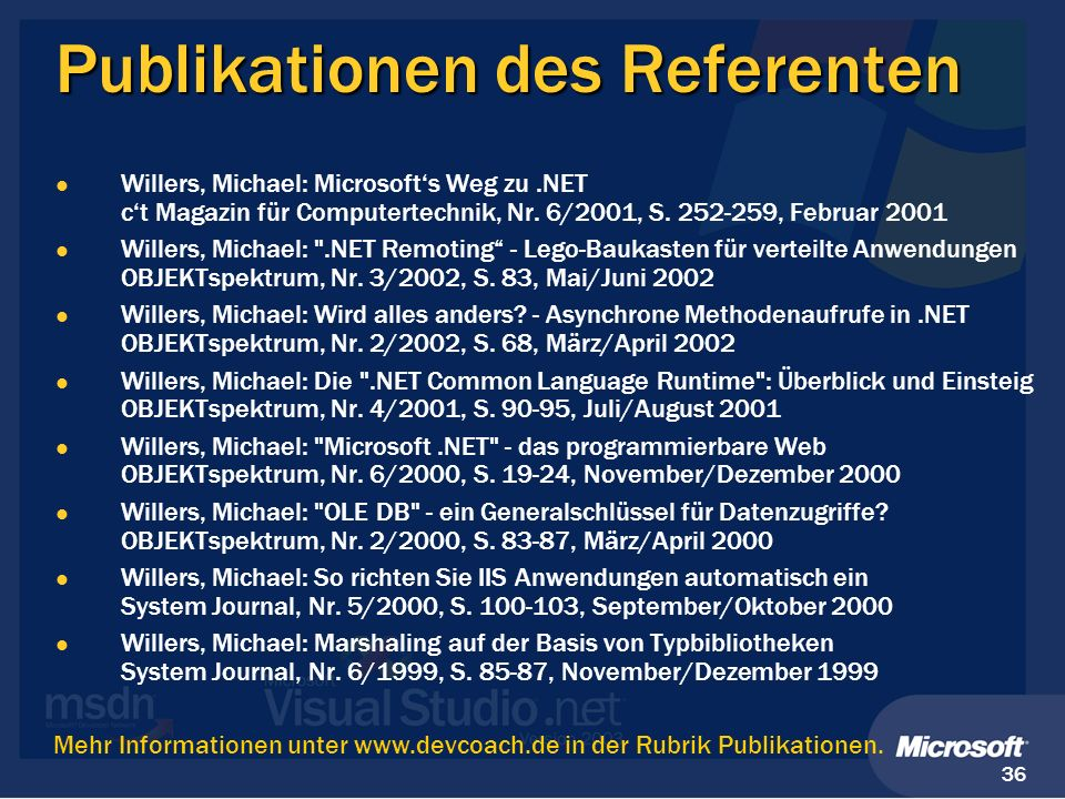 Publikationen des Referenten