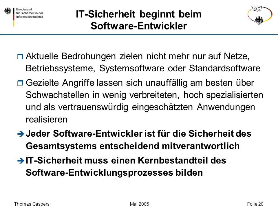 IT-Sicherheit beginnt beim Software-Entwickler
