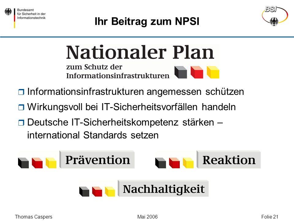 Ihr Beitrag zum NPSI Informationsinfrastrukturen angemessen schützen