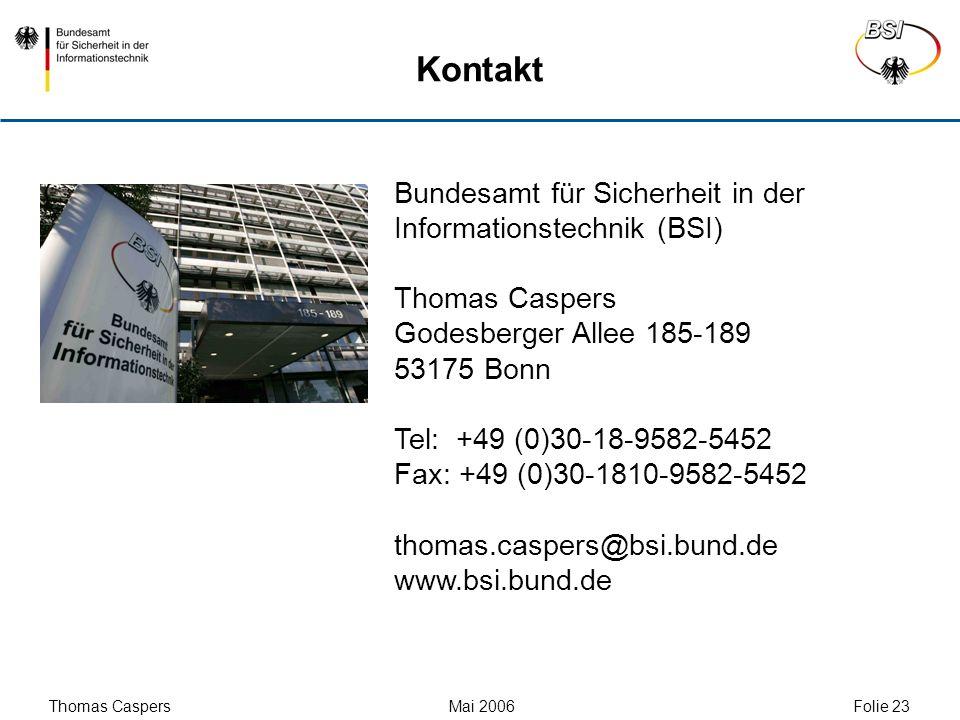 Kontakt Bundesamt für Sicherheit in der Informationstechnik (BSI)