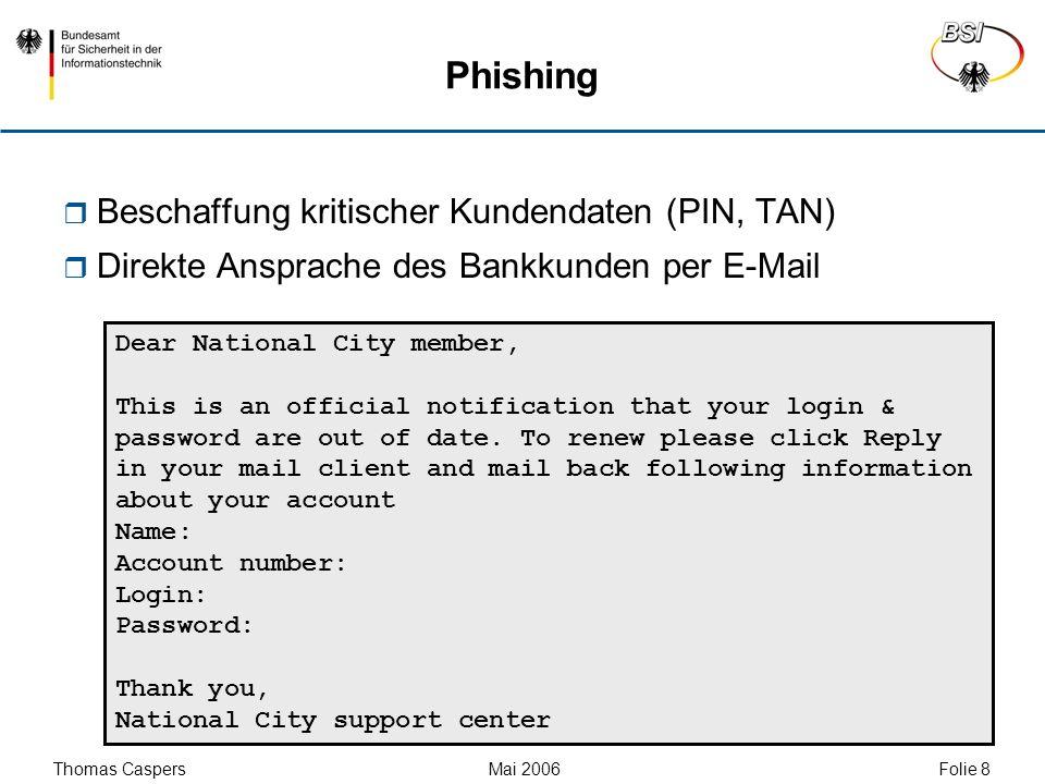 Phishing Beschaffung kritischer Kundendaten (PIN, TAN)