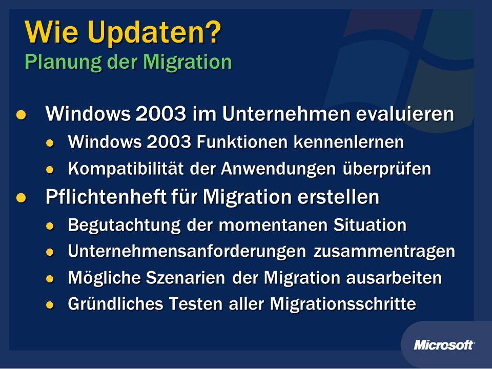 Wie Updaten Planung der Migration