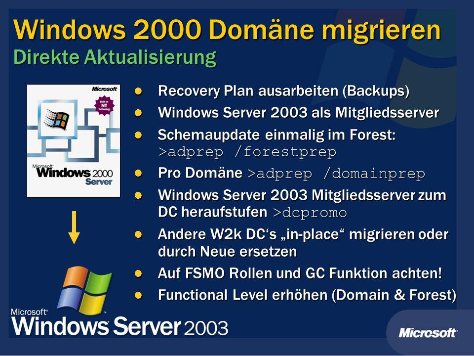 Windows 2000 Domäne migrieren Direkte Aktualisierung