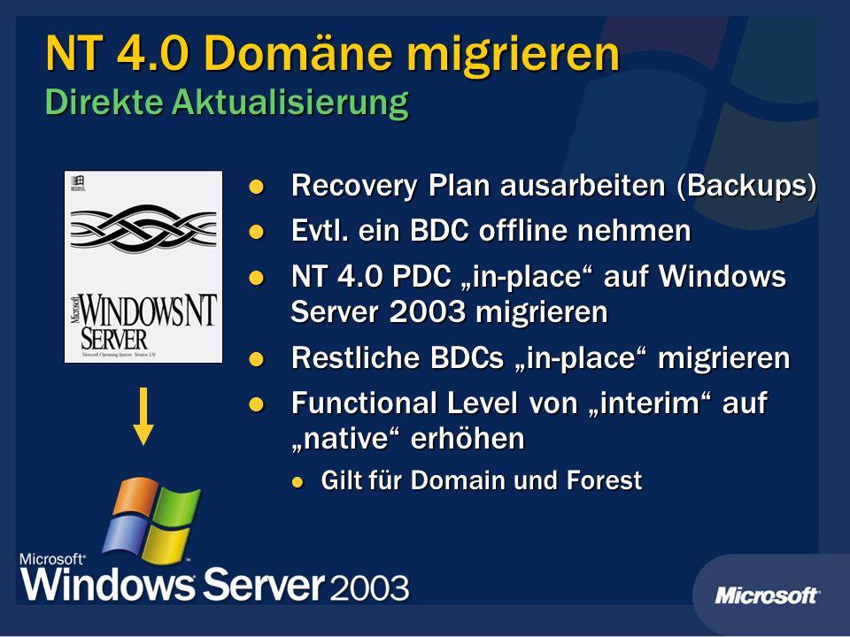 NT 4.0 Domäne migrieren Direkte Aktualisierung