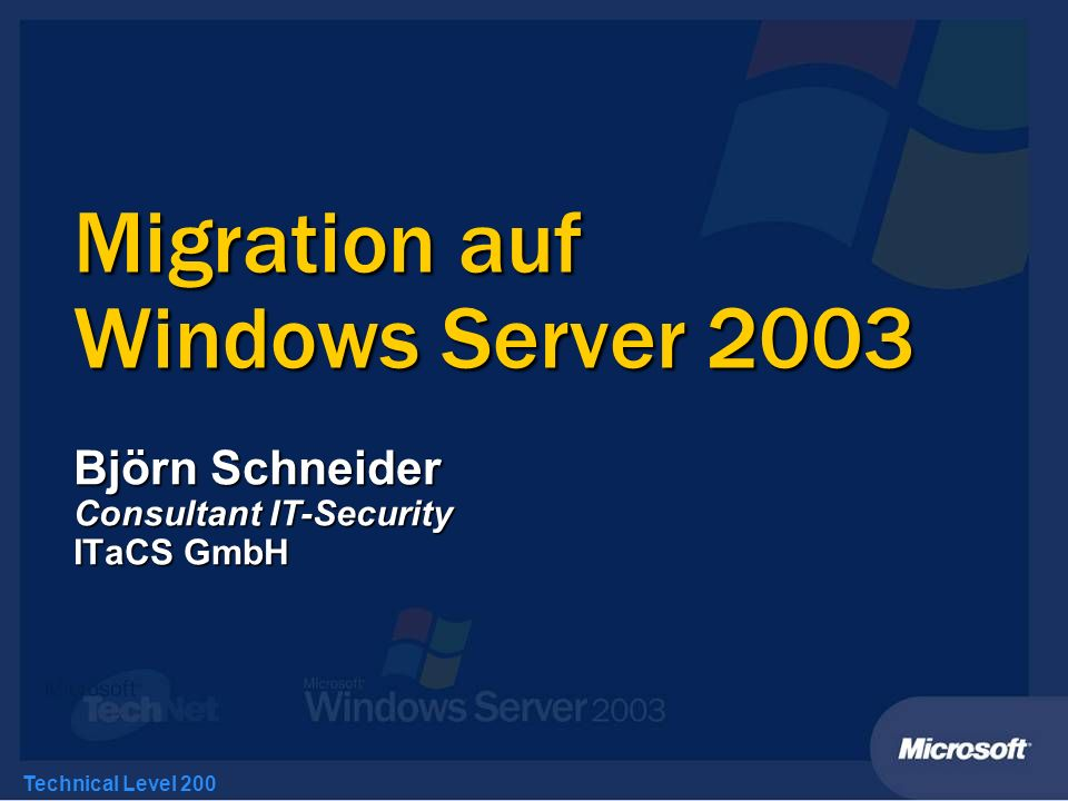 Migration auf Windows Server 2003