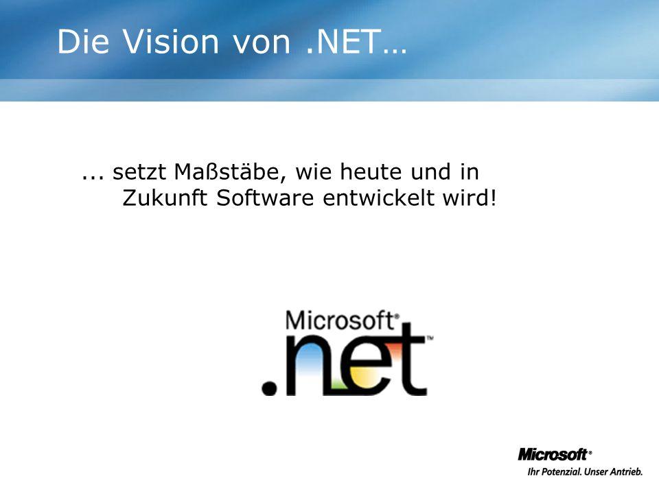 Die Vision von .NET… ... setzt Maßstäbe, wie heute und in Zukunft Software entwickelt wird!