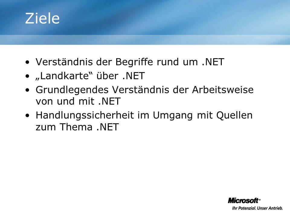 """Ziele Verständnis der Begriffe rund um .NET """"Landkarte über .NET"""