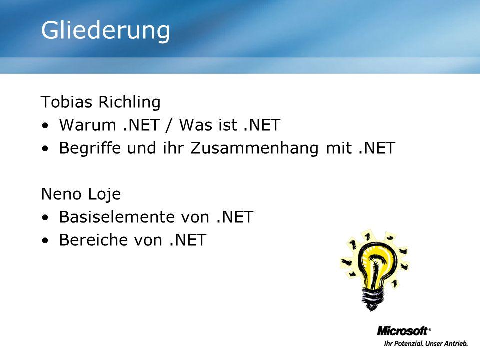 Gliederung Tobias Richling Warum .NET / Was ist .NET