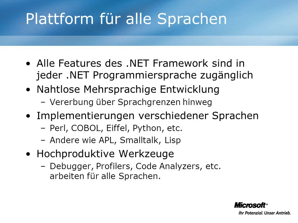 Plattform für alle Sprachen