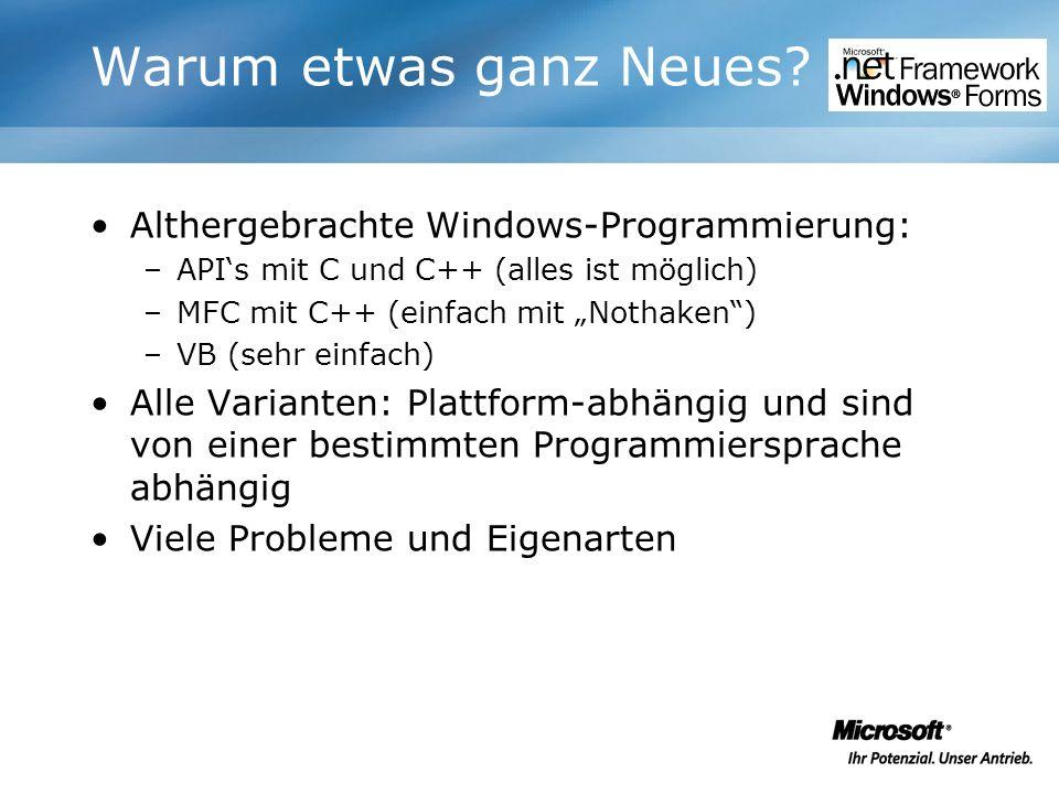 Warum etwas ganz Neues Althergebrachte Windows-Programmierung:
