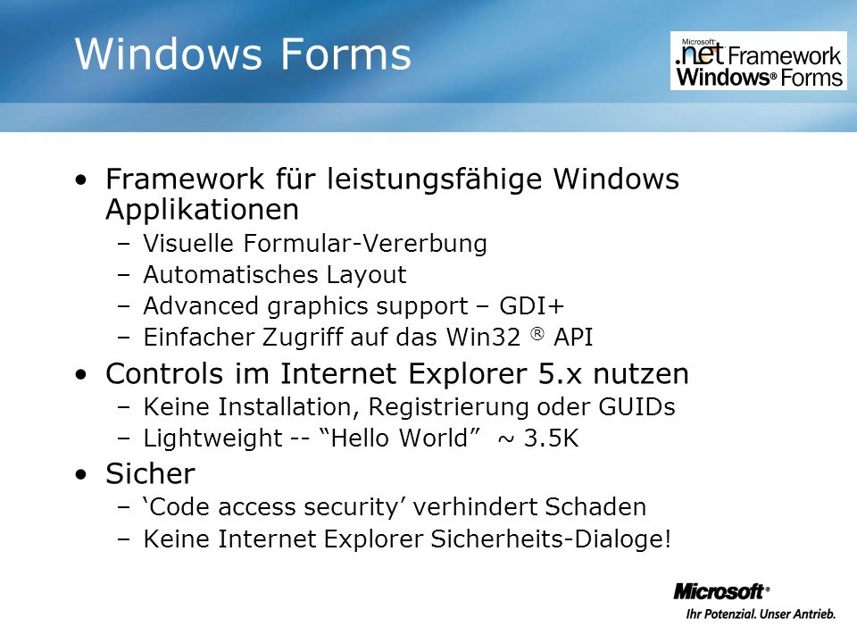 Windows Forms Framework für leistungsfähige Windows Applikationen