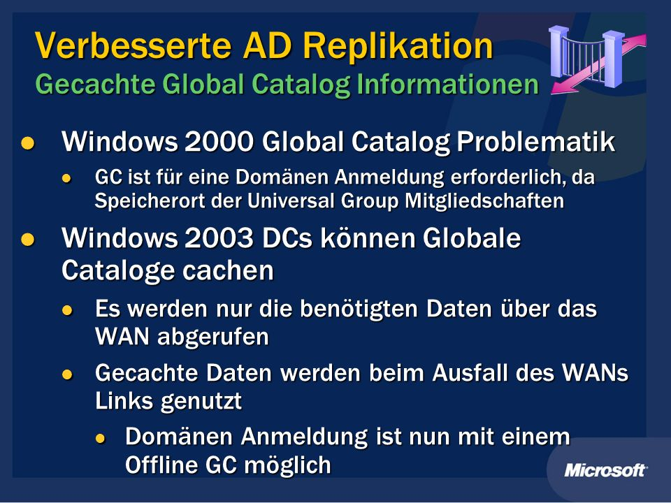 Verbesserte AD Replikation Gecachte Global Catalog Informationen