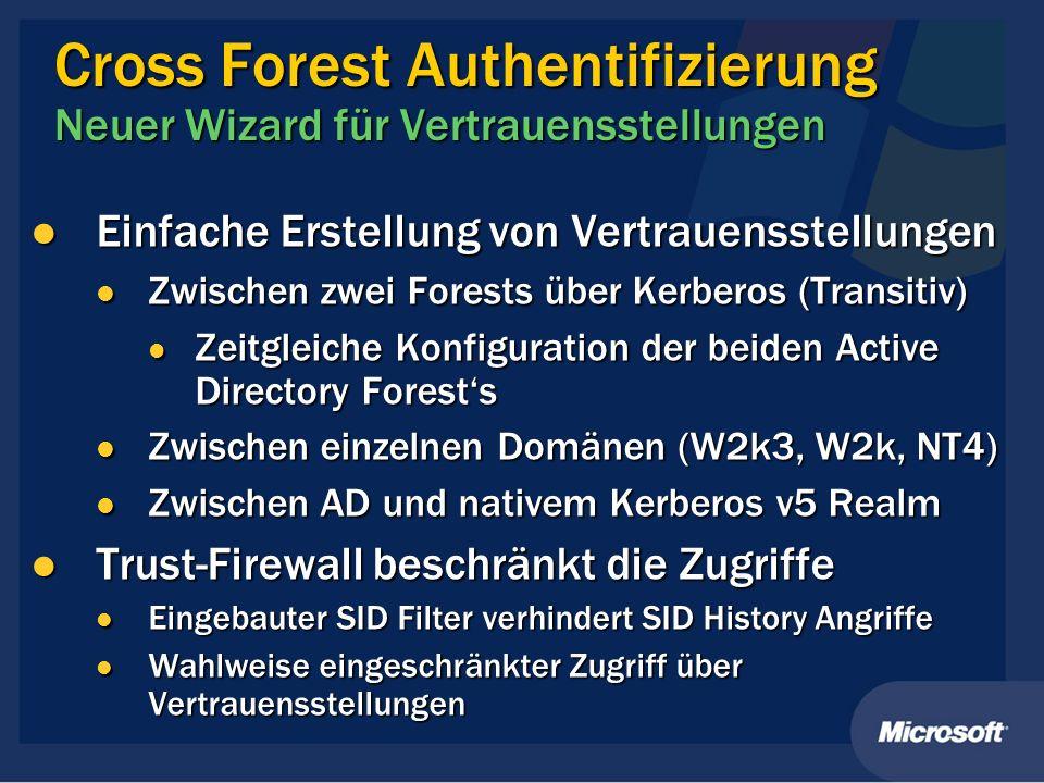 Cross Forest Authentifizierung Neuer Wizard für Vertrauensstellungen