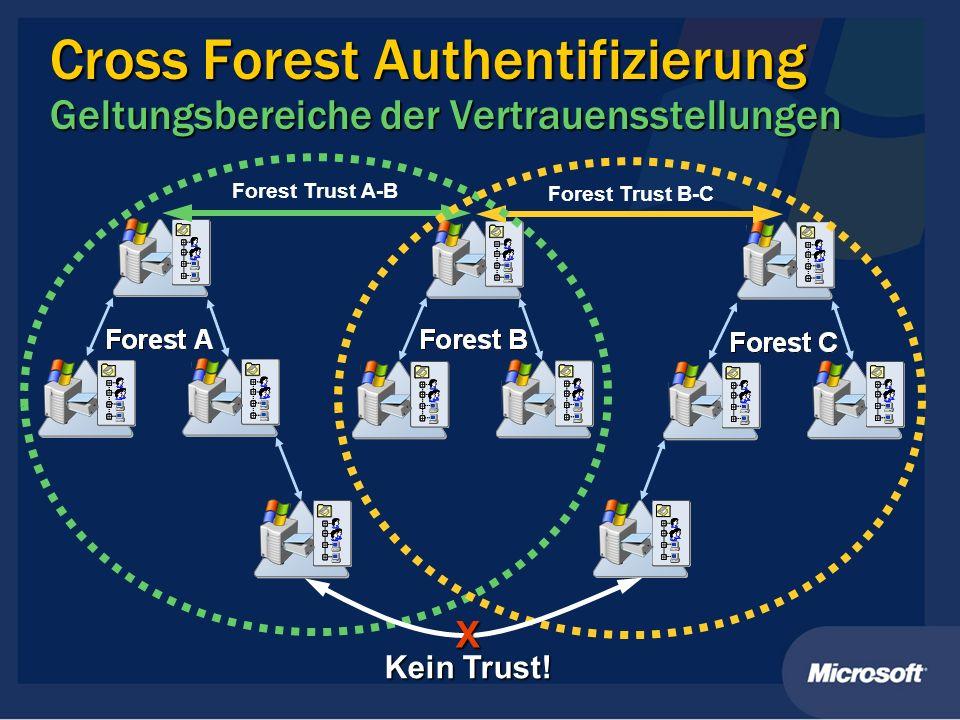 Cross Forest Authentifizierung Geltungsbereiche der Vertrauensstellungen