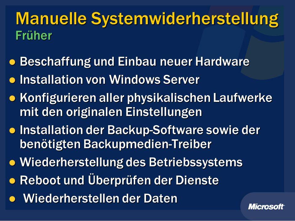 Manuelle Systemwiderherstellung Früher