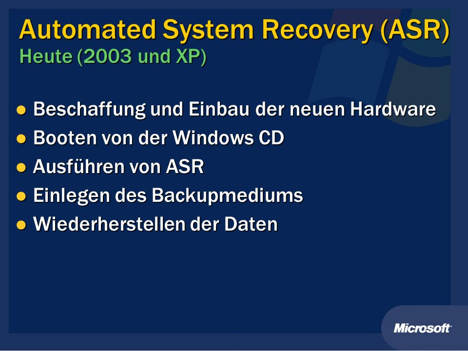 Automated System Recovery (ASR) Heute (2003 und XP)