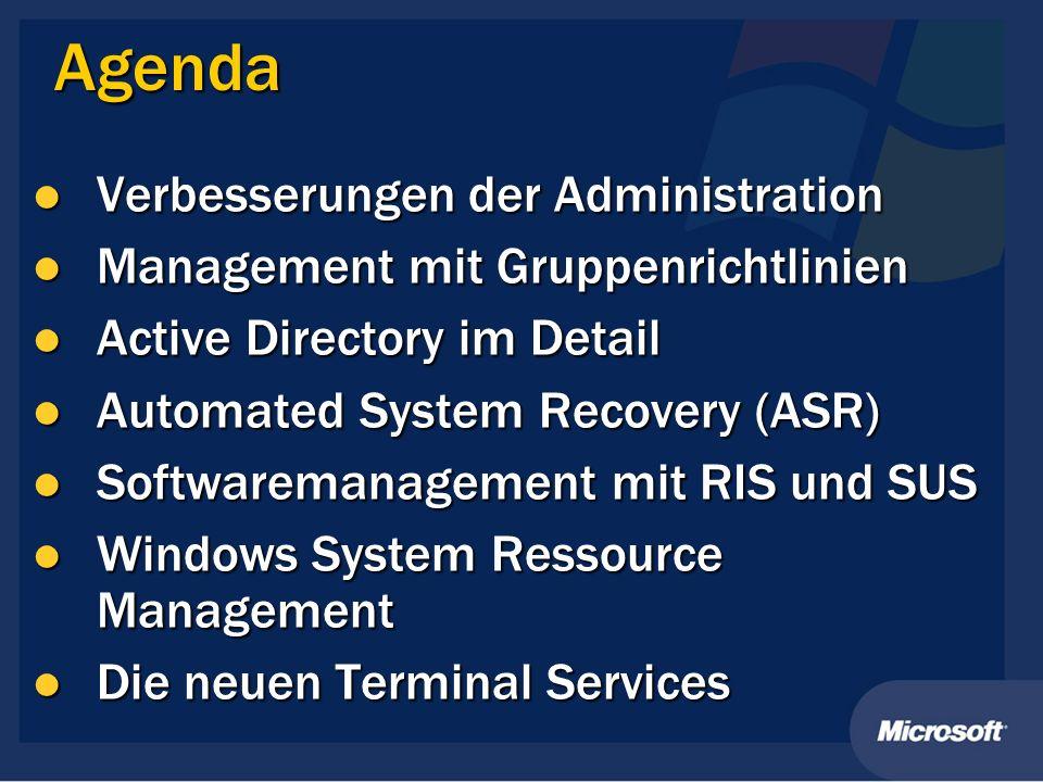 Agenda Verbesserungen der Administration