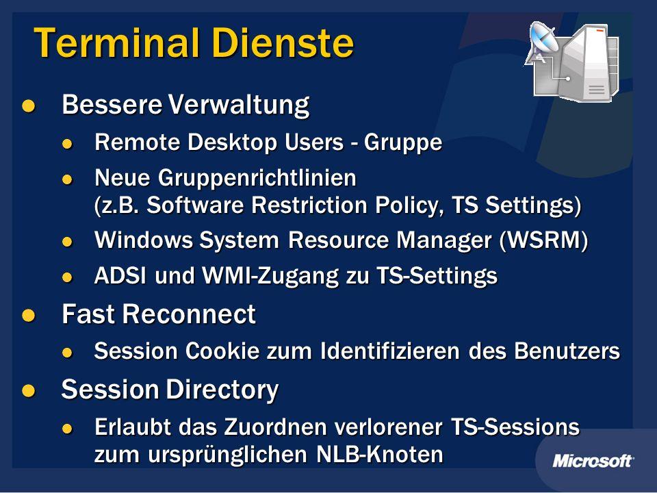 Terminal Dienste Bessere Verwaltung Fast Reconnect Session Directory