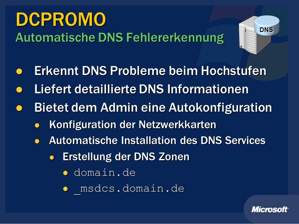 DCPROMO Automatische DNS Fehlererkennung