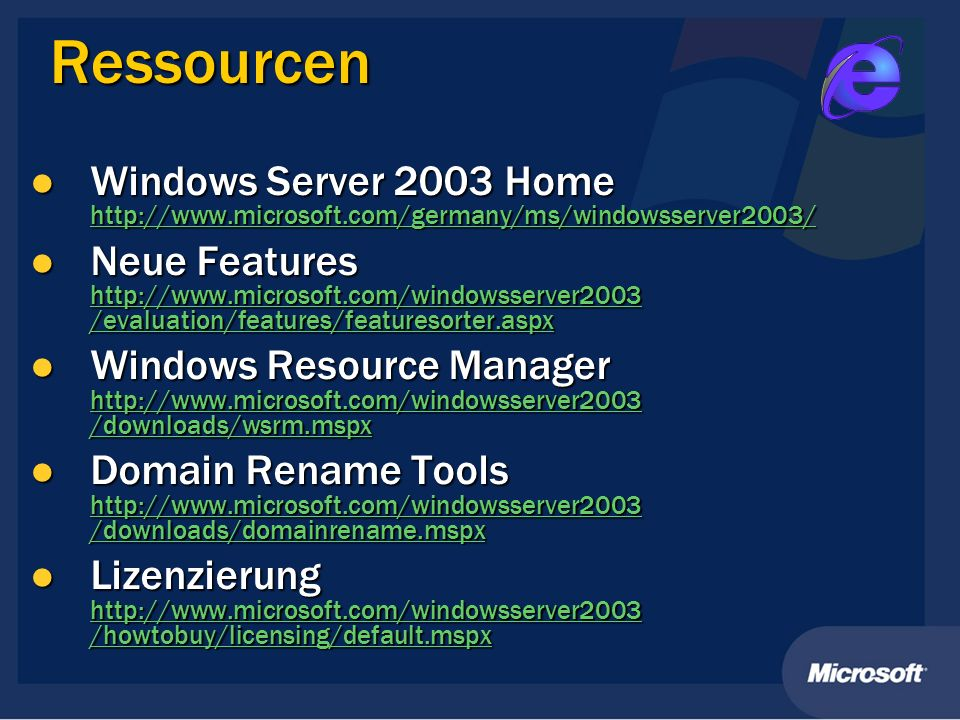 Ressourcen Windows Server 2003 Home http://www.microsoft.com/germany/ms/windowsserver2003/