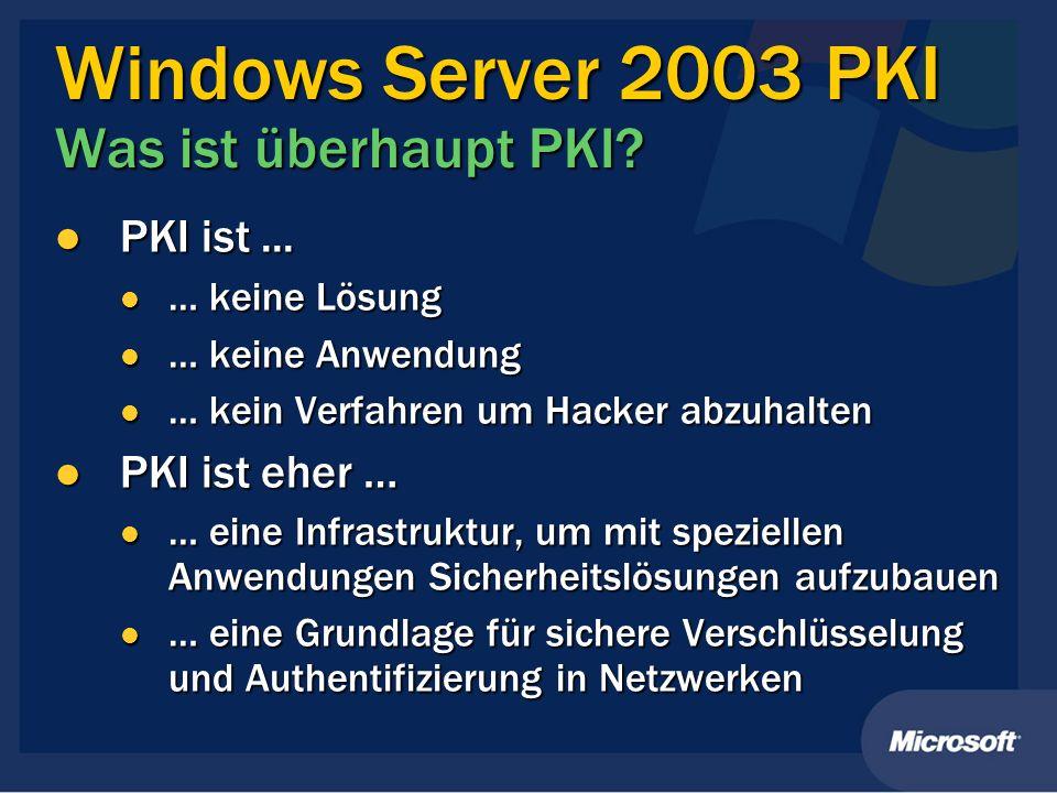 Windows Server 2003 PKI Was ist überhaupt PKI