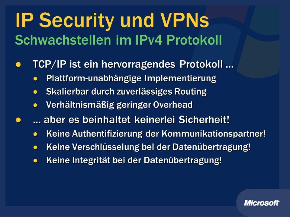 IP Security und VPNs Schwachstellen im IPv4 Protokoll