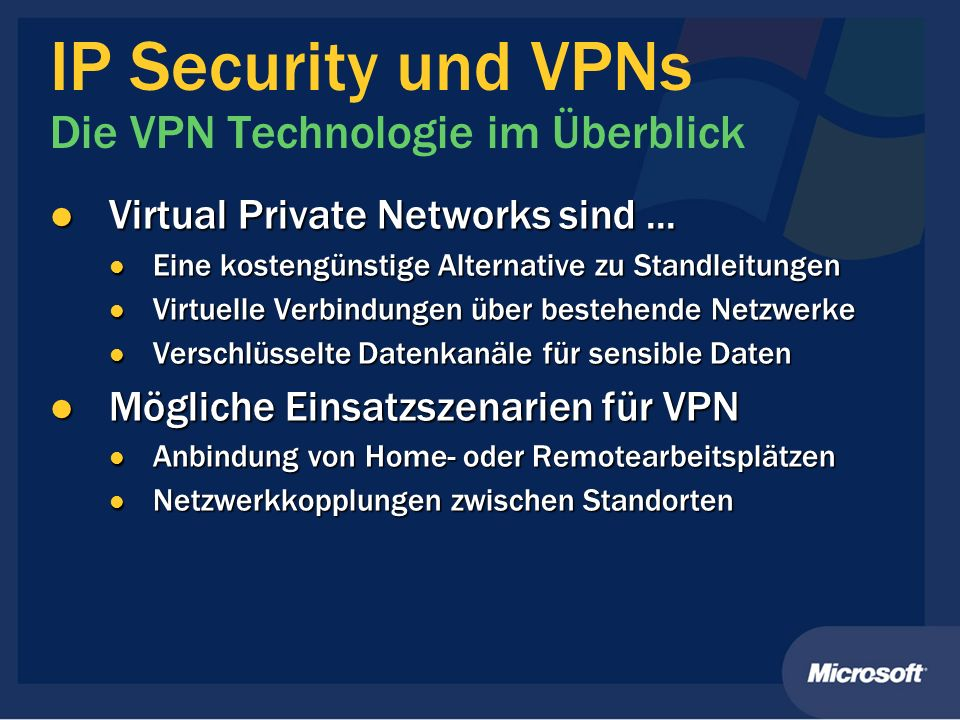 IP Security und VPNs Die VPN Technologie im Überblick