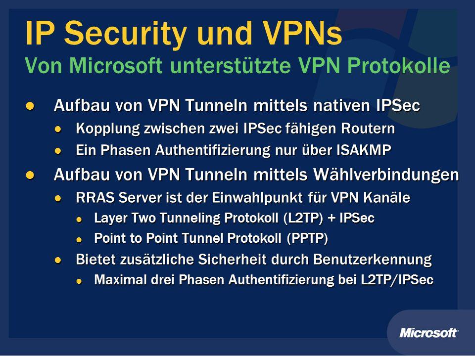 IP Security und VPNs Von Microsoft unterstützte VPN Protokolle